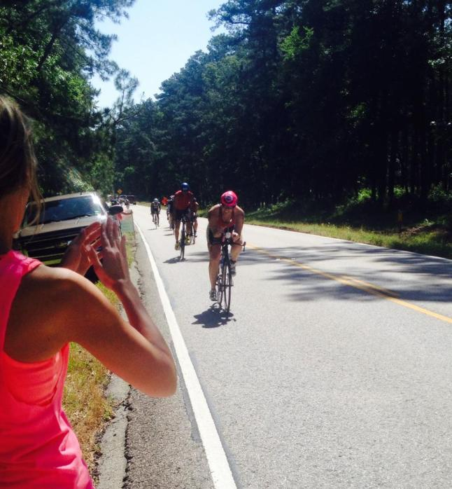 Riding in the forest! So happy & surprised to see friends on the bike course! Thanks Shara Johnson for the pic